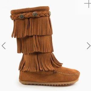 3 layer fringe suede boots
